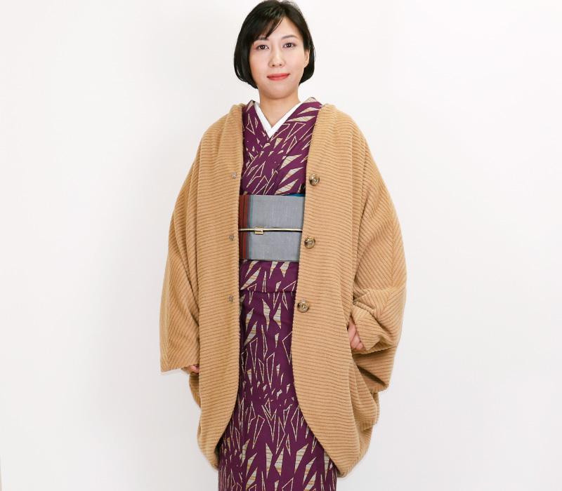 和装ウールコート「Edge エッジ」 「斜線キャメル」着物コート【日本製】
