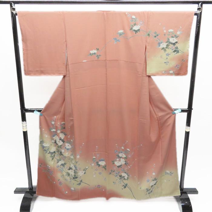 訪問着 リサイクル 着物 牡丹の木花の図 優雅な和の装いに ピンク A490-2 L 【中古】