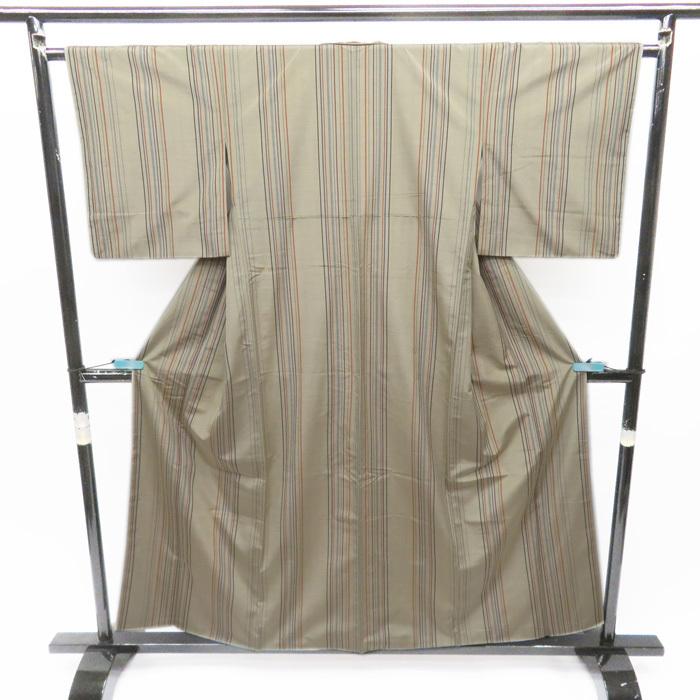 紬地 縦縞 スタイリッシュなイレギュラー・ストライプ 淡い青丹色 着物 A559-4 M 【中古】