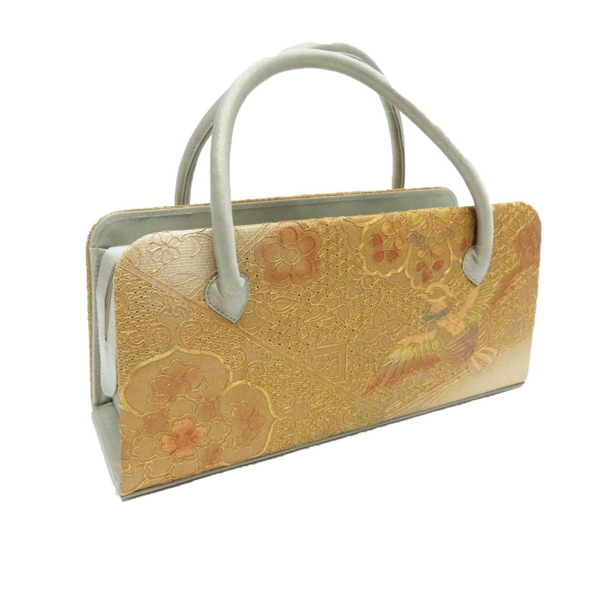 和装 利休バッグ 正絹 帯地使用 スワトウ刺繍 汕頭 5