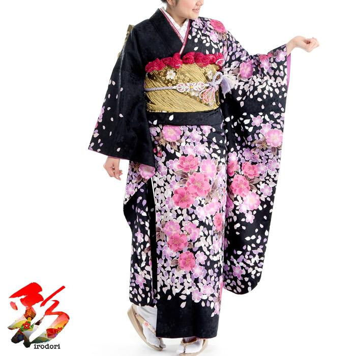 デポー 成人式 振袖フルセットレンタル 155cm~165cm位 日本正規品 1月 12月 成人式振袖フルセットレンタル いかがでしょうか ピンクの桜吹雪 b010成人式式典出席お正月や結婚式 黒 結納などのお祝い出席に