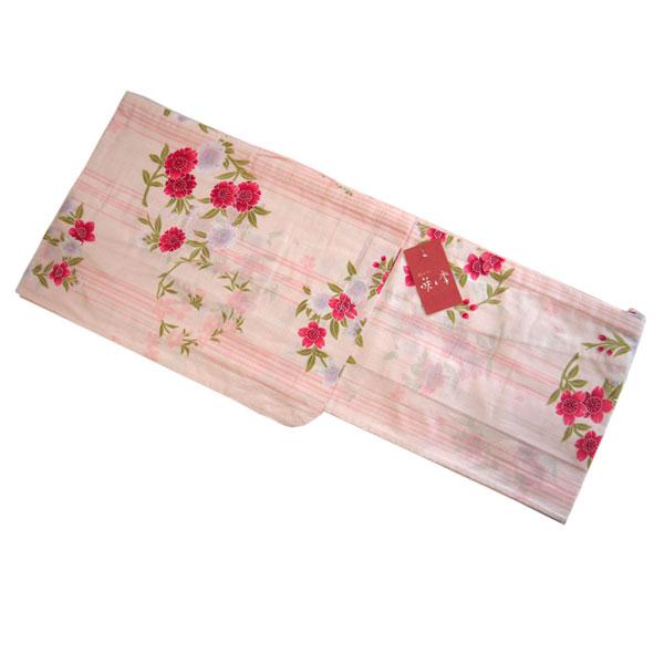 【送料無料】はなふうりん 浴衣 お仕立て上がり ブランド浴衣 YUKATA 咲季 フリーサイズ 女性用 レディース かわいい おしゃれ ゆかた 単品 ストライプ ライン 桜 薄ピンク 変わり織り 綿100% 新作 プレタ