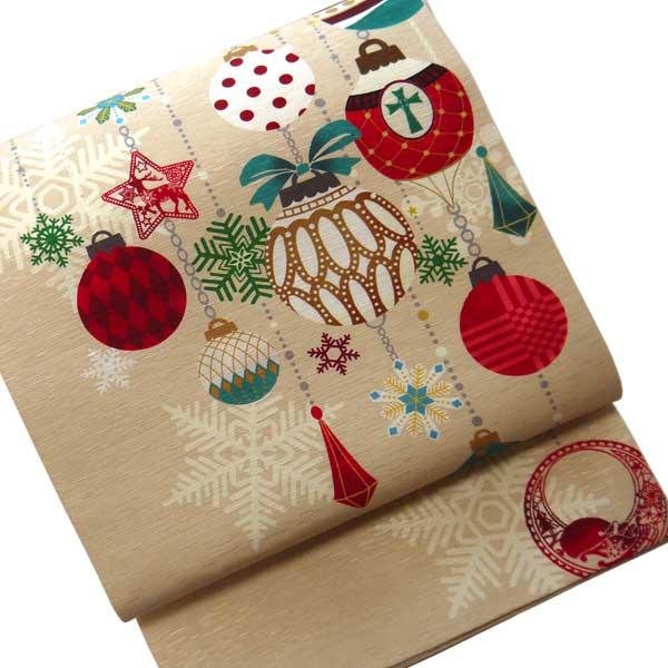 【送料無料】正絹 染京袋帯 お仕立て上り WA・KKA ワッカ クリスマス オーナメント ベージュ 赤 緑 雪 結晶 かわいい おしゃれ カジュアル 着物用 きもの 小紋 おでかけ着 帯 日本製 名古屋帯 一重太鼓 染め帯