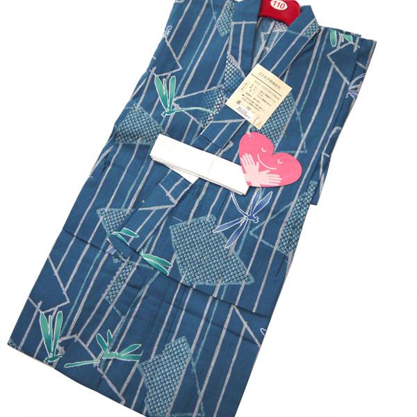 【送料無料】子供 浴衣 110cm 5-6才用 青色 青地 とんぼ お仕立て上がり 男児 男の子 キッズ 綿100% かわいいレトロ 高級 サイズ 古典 ゆかた yukata 蜻蛉 トンボ 絞り調