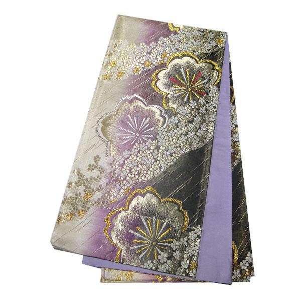 【送料無料】【在庫処分品】振袖用袋帯 西陣袋帯 振袖用 袋帯 紫 さくら セール 桜 かわいい