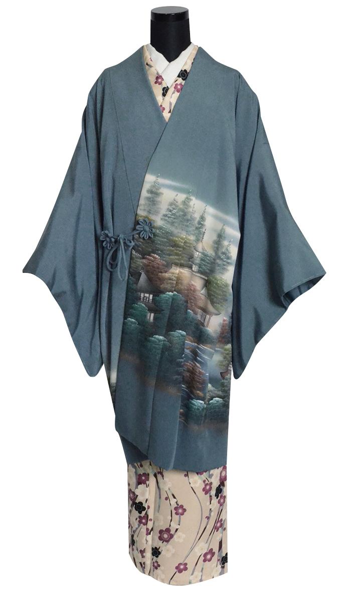 【訳あり】 女性用 正絹 道中着コート 縹色 日本風景 フリーサイズ 【1点物】【日本製】【着物コート】