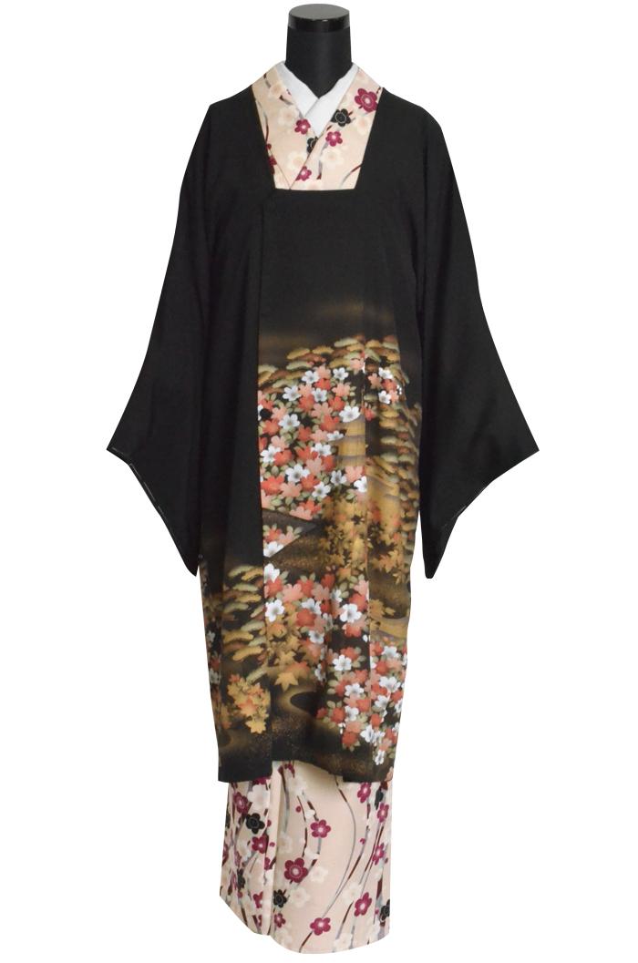 女性用 正絹 道行コート(紋入り) ブラック 桜と松、塔 フリーサイズ 【1点物】【日本製】【着物コート】