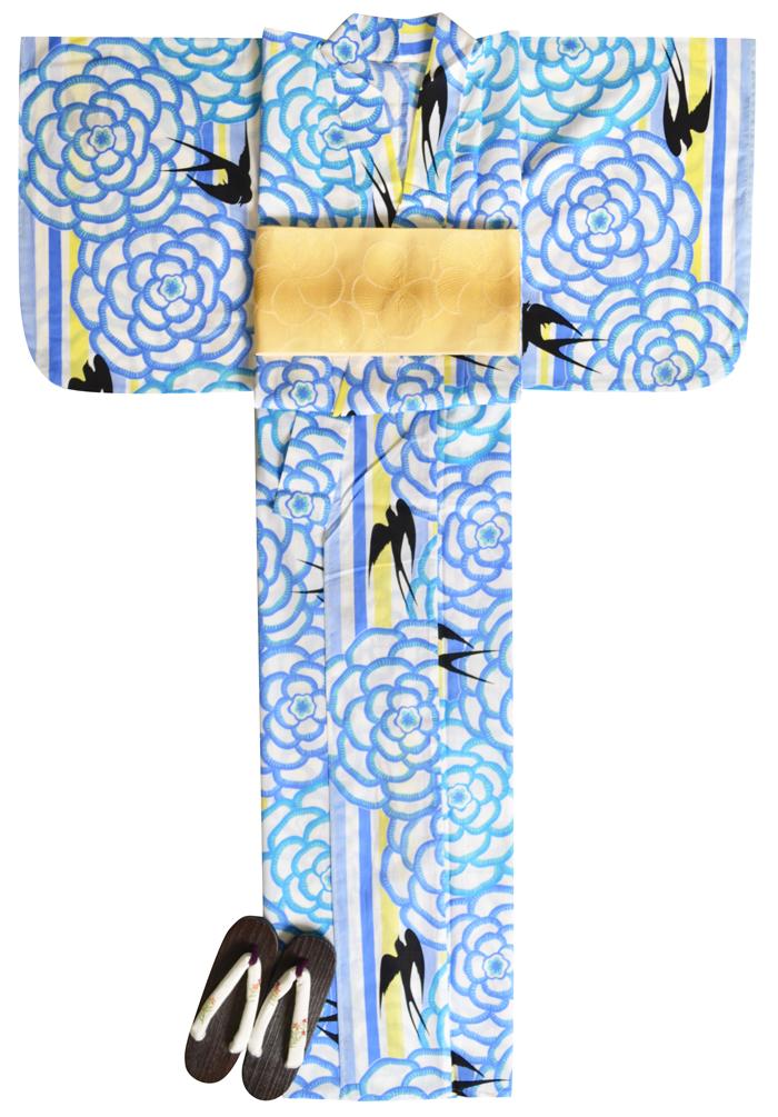 ≪凪≫ お仕立て上がり浴衣3点セット ホワイト×水色 ツバメ ☆もれなく帯&下駄プレゼント☆ 【フリーサイズ】【送料無料】【古典柄】【yukata_d19】