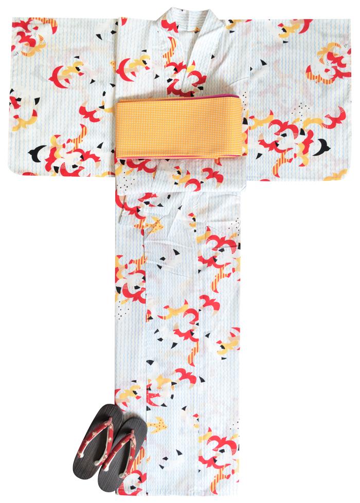 ≪凪≫ お仕立て上がり浴衣3点セット ホワイト×水色 カモメの水兵さん ☆もれなく帯&下駄プレゼント☆ 【フリーサイズ】【送料無料】【古典柄】