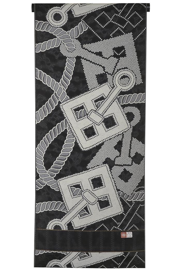 正絹お召し 反物 黒×グレー 鍵縄と馬(蹄鉄) 【着物】【男性・女性】