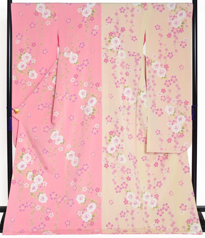 ≪卒業式・成人式向け≫ ちりめん振袖 単品 ピンク×ミルキークリーム 桜柄 身丈174cm 【2Lサイズ】【トールサイズ】【洗えるきもの】【結婚式】