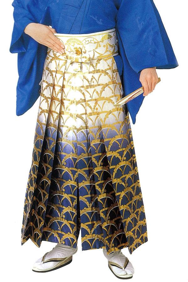 男物 お仕立て上がり 踊り用袴 グラデーションに金模様 S・M・Lサイズ 【送料無料】【メンズ】【日本舞踊】