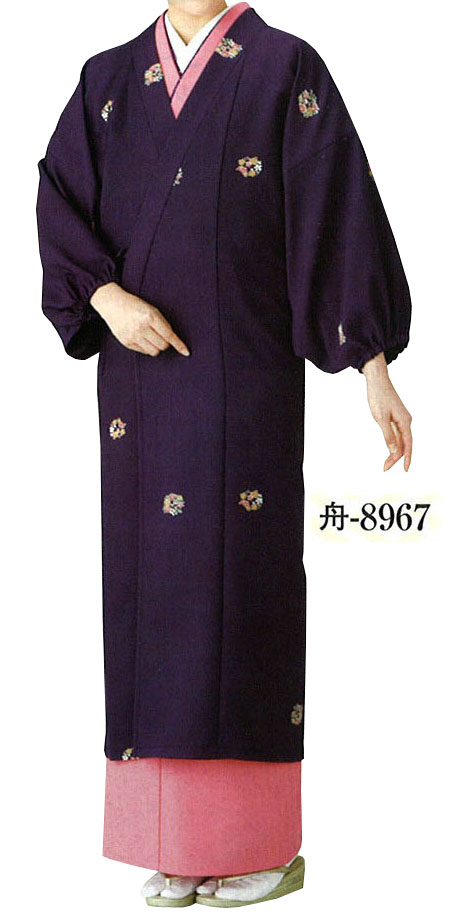 ポリエステル お仕立て上がり 水屋着 紫 【送料無料】【仕事着】【茶道】