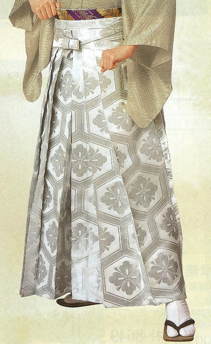 男物 踊り用袴 銀地に亀甲花菱 S・M・Lサイズ 【メンズ】【日本舞踊】【送料無料】