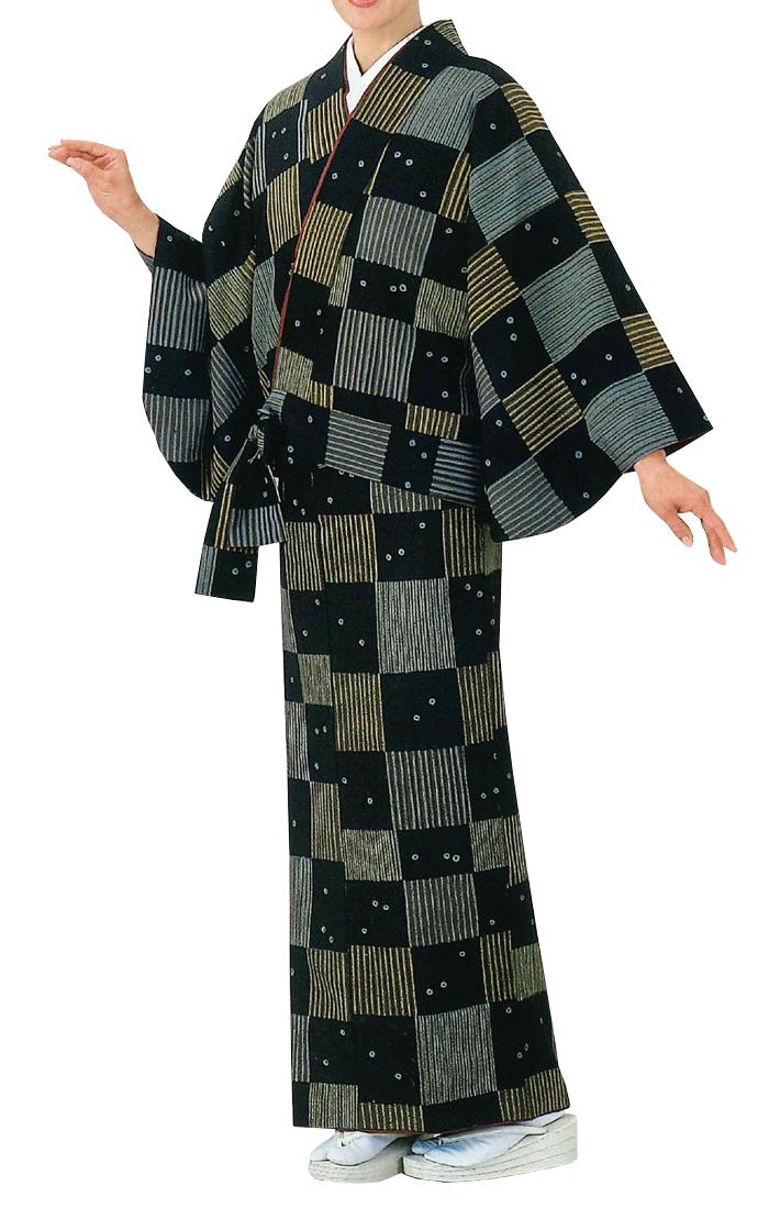 洗える二部式着物 市松模様 フリーサイズ 【仕事着】【納期約2週間】