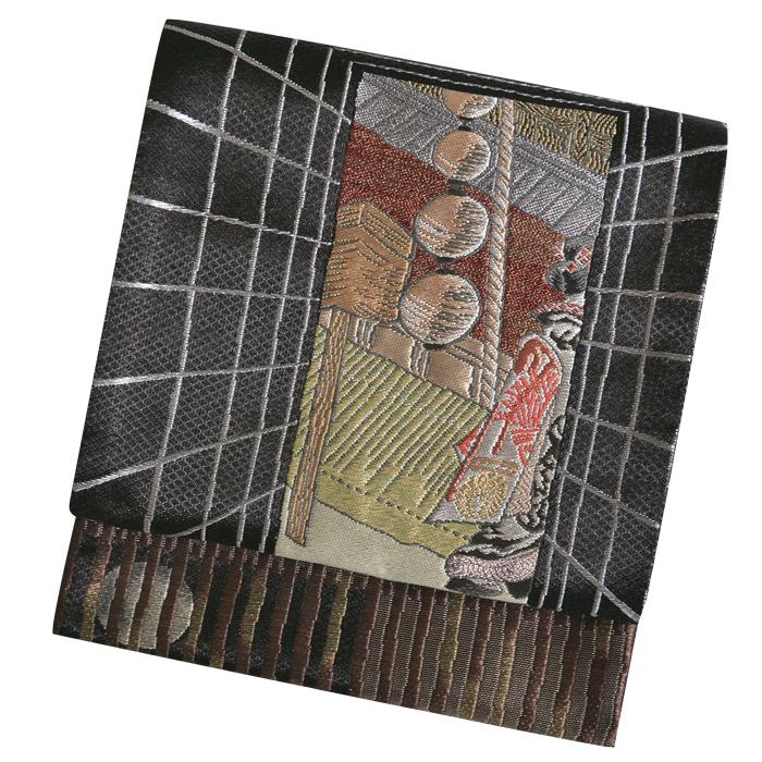 ≪西陣織≫ 紗綾織 正絹 袋帯(未仕立て) 黒×金 舞妓はん 【着物】【礼装】