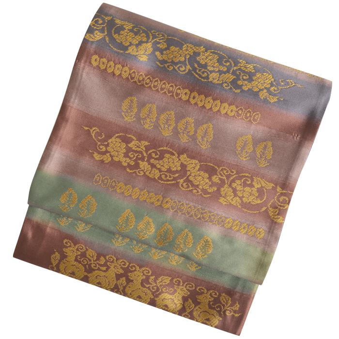 ≪西陣織≫ 正絹 袋帯(未仕立て) 茶×緑 壁画風文様 【着物】【礼装】