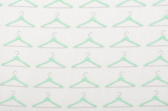 正絹 柄八掛 ホワイトグリーン ハンガー柄 約4.4m 【裾回し】【送料無料】