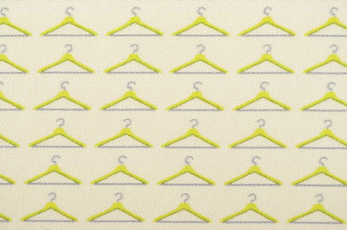 正絹 柄八掛 ライトイエロー ハンガー柄 約4.4m 【裾回し】【送料無料】