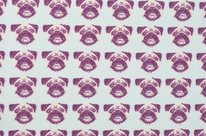 正絹 柄八掛 水色地 ブルドッグ 約4.4m 【犬】【裾回し】【送料無料】