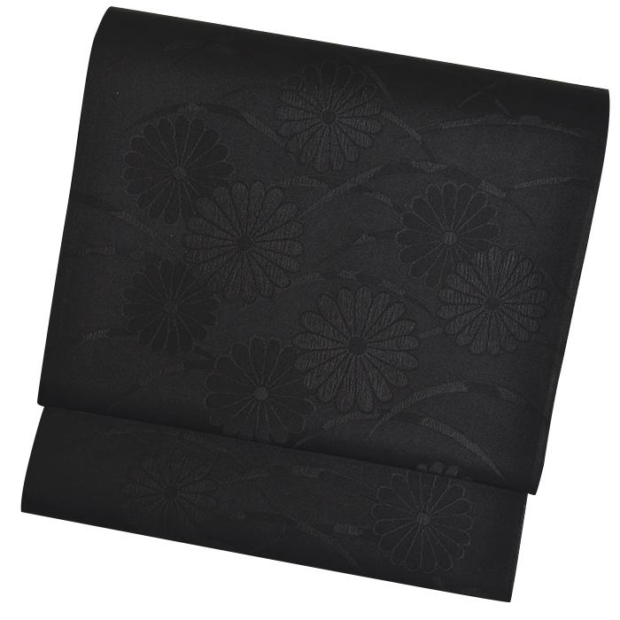 正絹 両面喪服用袋帯(未仕立て) 菊柄 リバーシブル 【黒共帯】【告別式】【お葬式】【黒喪帯】【ブラックフォーマル】:きもののきらくや