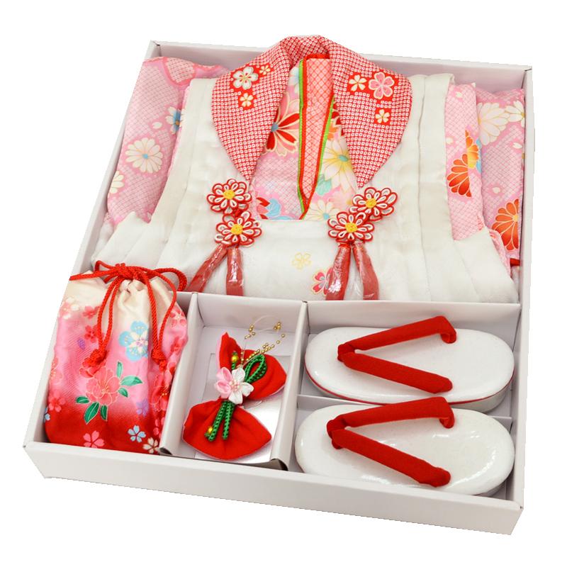 【七五三】【新品】【送料無料】 3歳 女児 正絹 被布セット 7点セット 白×石竹色×赤 菊・牡丹 絞り柄 女の子 しぼり ピンク