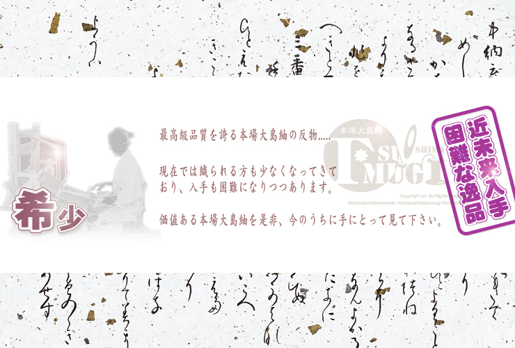 本場 大島紬 鹿児島 純泥染 手織り 紬 反物(古典柄7マルキ!!)
