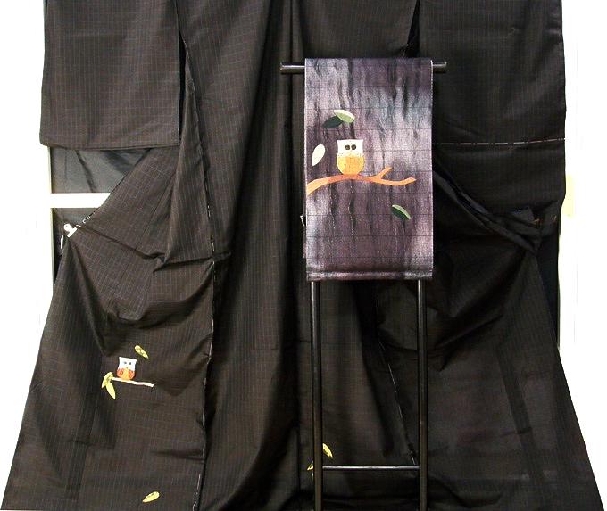 【お誂え仕立て付】 ふくろう柄 大島紬 切りばめ 梟 着物 訪問着 おしゃれ 紬 袋帯(個性的な1点物:着物と帯のペア)