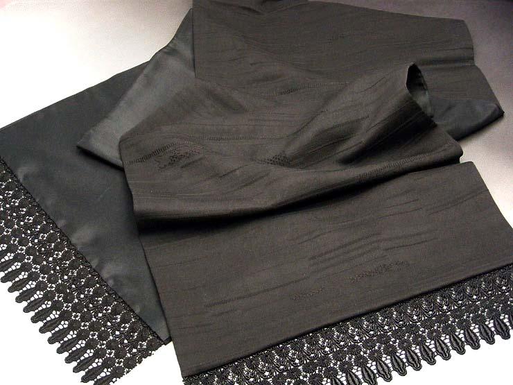 泥染 黒 ショール 着物 正絹 和洋兼用 着物用ショール 和装ショール (オリジナル二方レース)
