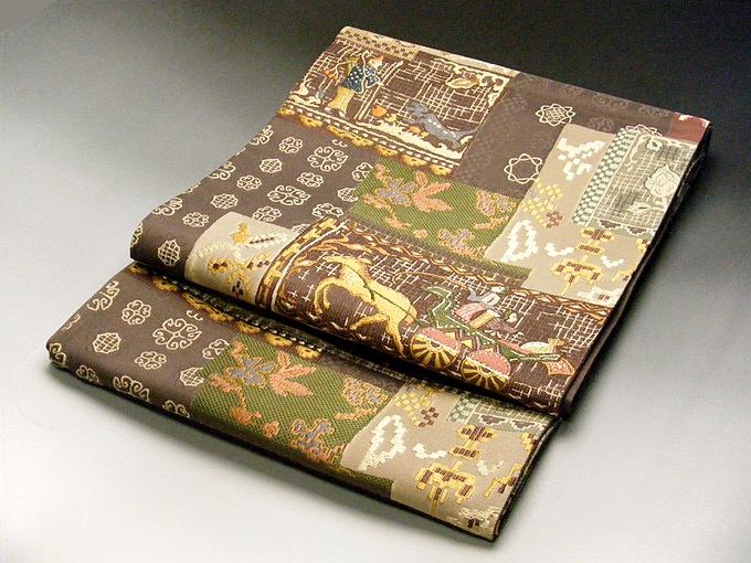 正絹 西陣 しゃれ 袋帯 老舗織元 小紋 紬 (紬にお薦めのしゃれ袋帯)