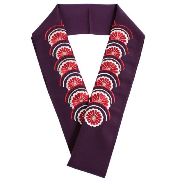 刺繍 半衿 単品 振袖用 紫 白 赤 金 青海波 菊 レディース シルエリー Silelly 刺繍衿 日本製 女性 和服 和装 着物 振袖 化繊 あす楽 メール便 セミフォーマル カジュアル DM便発送可能 KZ tkわら