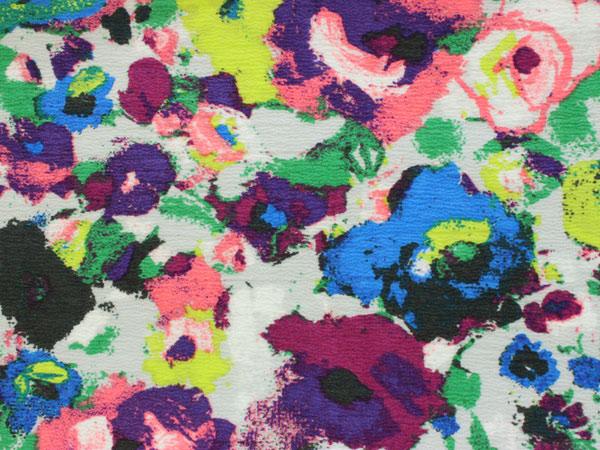 含有彩色粉笔色地市松花纹浴衣+淡灰色地抽象画风花纹带棉chirimen furisaizuredisuyukata obi手工印花