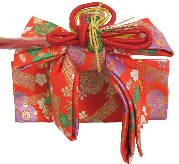 【七五三 着物 三歳 小寸 結び帯 作り帯】朱赤地桜と熨斗柄 三才 3才 3歳 女の子 きもの 和装 帯