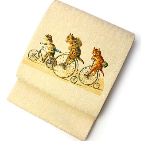 絹袋帯 お仕立て付き ベージュ地猫のアンティーク自転車柄 お太鼓柄 小紋や紬に合わせる洒落帯 捺染 送料無料《urワニ》