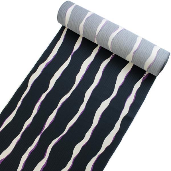 正絹小紋着物反物 丹後ちりめん フルオーダー仕立て付き 紺地白と紫のよろけ縞 単品 女性 レディース 袷にも単衣にもお仕立て可能 自分サイズにお誂え 縮緬着尺 こもん 送料無料 《urウフ》