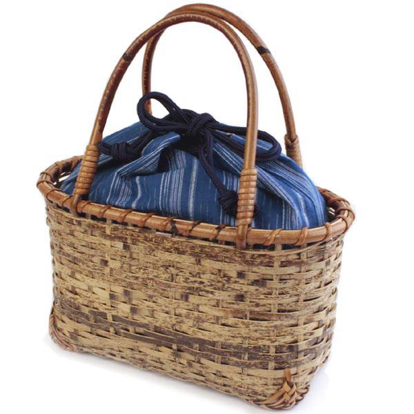 かごバッグ レディース 夏 バッグ 浴衣 巾着 かご 送料無料 虎竹ゴザメ編み ブルー袋つき 女性 バッグ カゴ 籠 きんちゃく ゆかた 浴衣バッグ 手提げ あす楽 kdクフ
