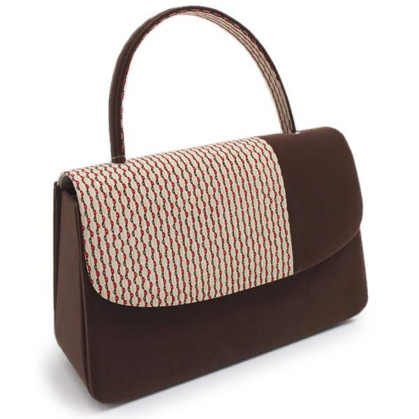 【着物バッグ 和装バッグ】こげ茶地ベロア幾何学ドット縞 ベルベット 別珍 きものバッグ バック