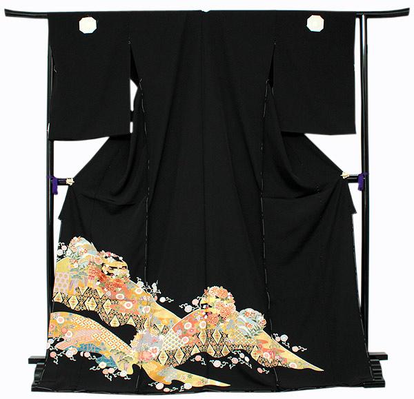 【正絹黒留袖 未仕立て 仮絵羽 雪輪に四季の花柄】礼装 黒留め袖 新品 お誂え 購入 販売 結婚式 既婚 五つ紋 家紋 フォーマル 【hzふら】