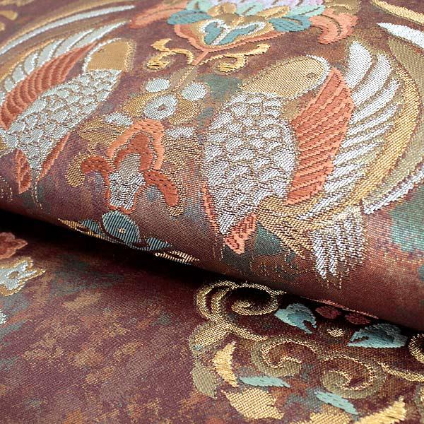 袋帯 フォーマル 絹 礼装 西陣織 仕立て付き  新品 未使用 販売 赤茶 緑 オレンジ 正倉院花鳥文 京都 ウチ
