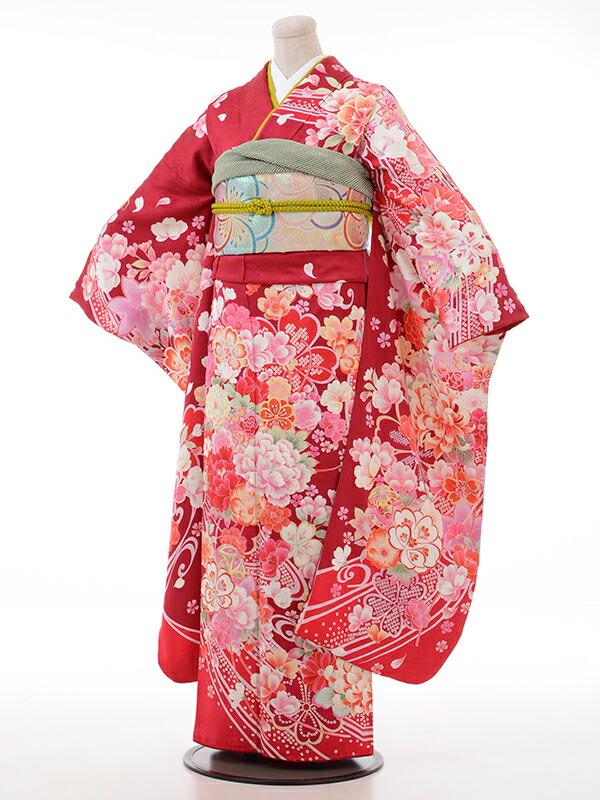 【クーポン】【レンタル】振袖 レンタル 成人式 着物 セット 赤地総花柄53