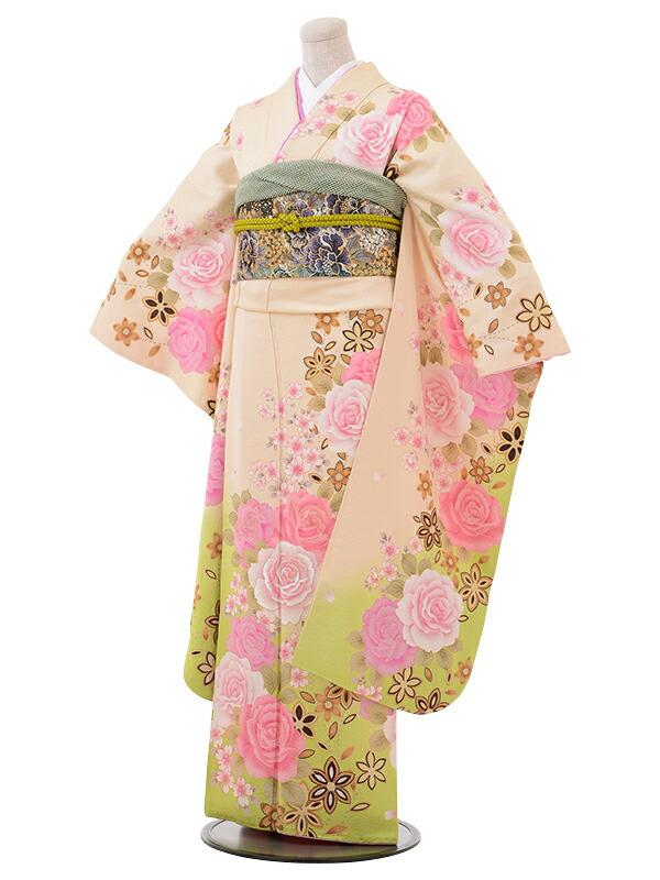 【クーポン】【レンタル】振袖 レンタル 成人式 着物 セット ベージュ クリームヒワグリーンピンクバラ