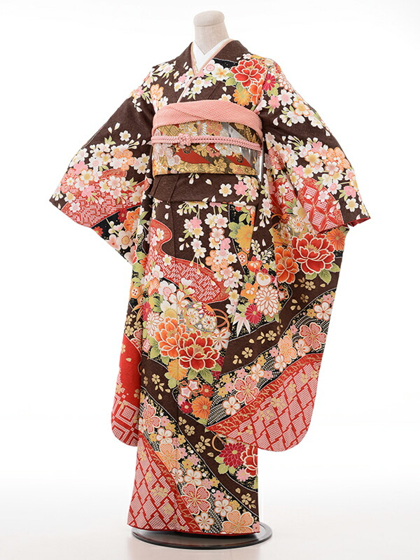 【クーポン】【レンタル】振袖 レンタル 成人式 着物 セット 桜 こげ茶地赤かのこ多色花に枝垂桜