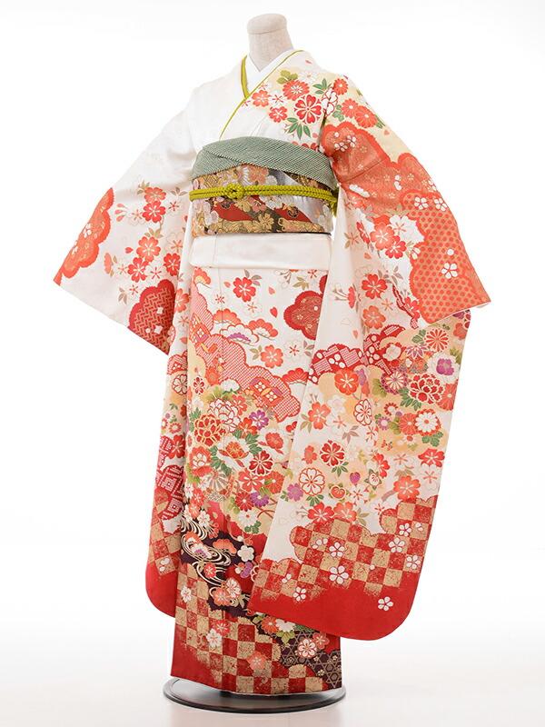 【クーポン】【レンタル】振袖 レンタル 成人式 着物 セット 白地かのこ入花車裾市松