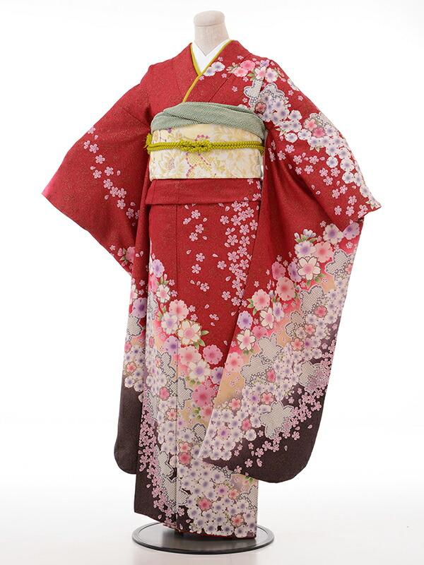 【クーポン】【レンタル】振袖 レンタル 成人式 着物 セット エンジ ラメ 桜 かのこ
