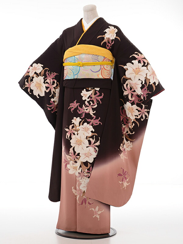 【クーポン】【レンタル】振袖 レンタル 成人式 着物 セット こげ茶ゆり裾ベージュピンク