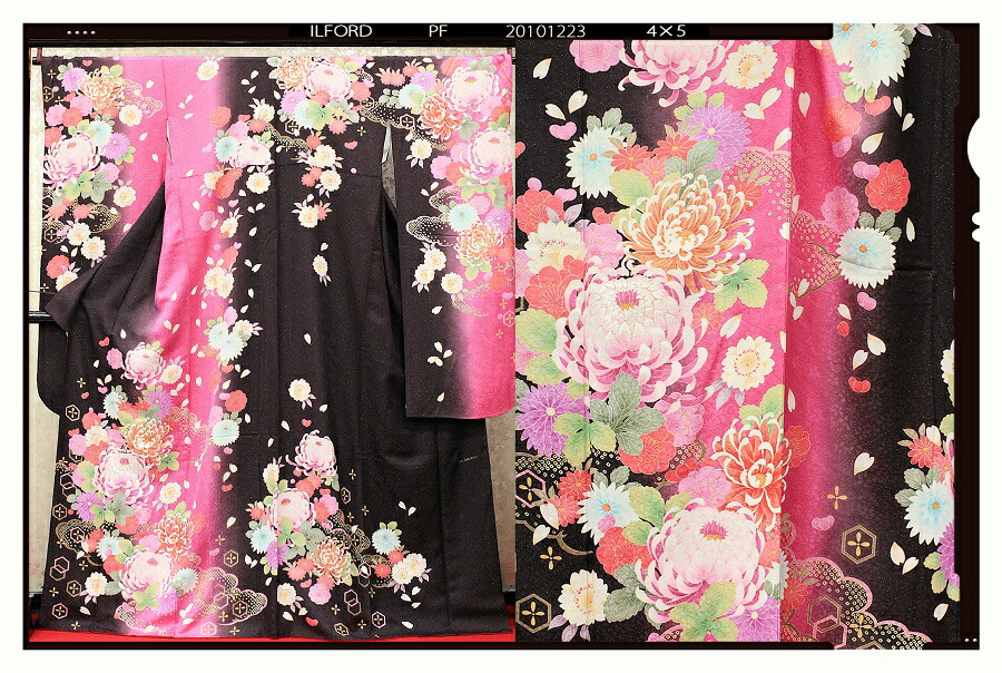 【クーポン】【レンタル】振袖 レンタル 成人式 着物 セット縦茶ピンクぼかしらん菊32