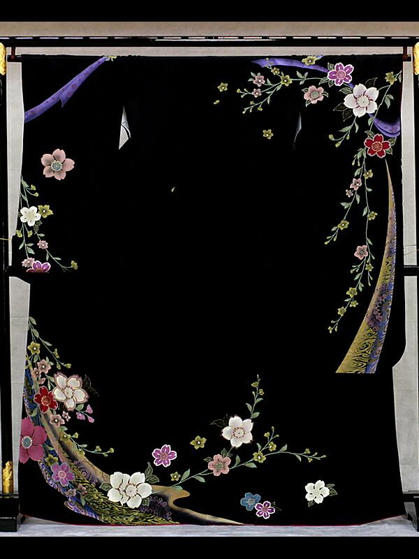 【クーポン】【レンタル】振袖 レンタル 成人式 着物 セット 黒地シンプルモダン柄20-m811(およばれ)(結納)20
