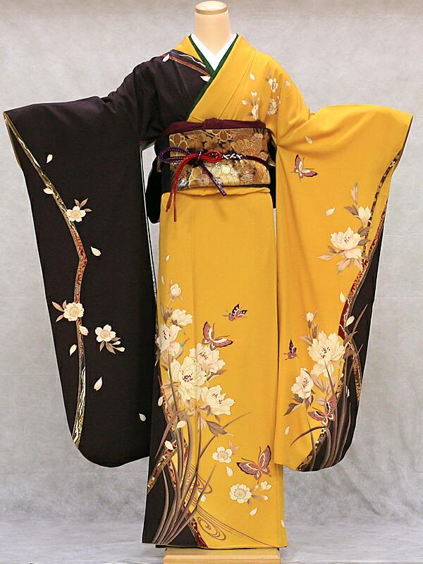 【クーポン】【レンタル】振袖 レンタル 成人式 着物 セット 黄色に焦げ茶花に蝶40