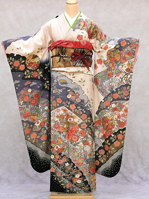 【レンタル】振袖 レンタル 成人式 着物 セット 上品モダン白地にポイント刺繍44【晴れ着】【結婚式】【結納】