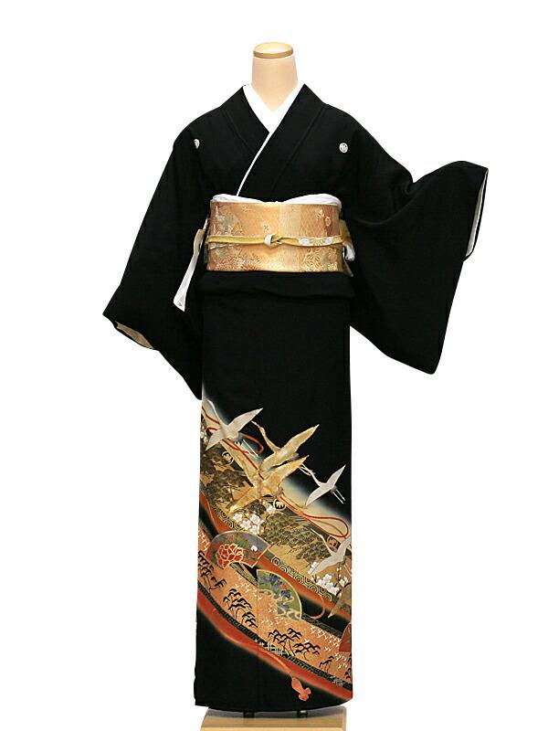 【クーポン】【レンタル】 留袖 レンタル 鶴に扇ボタン 送料無料 (黒留袖)(結婚式)